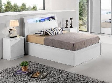 RUGBY HIGH GLOSS DOUBLE BED WITH STORAGE & LED LIGHT